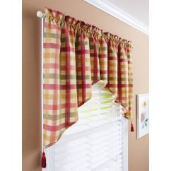 Swag Curtains For Kitchen Aid Mixer Better Homes Gardens Red Check Valances Walmart Com