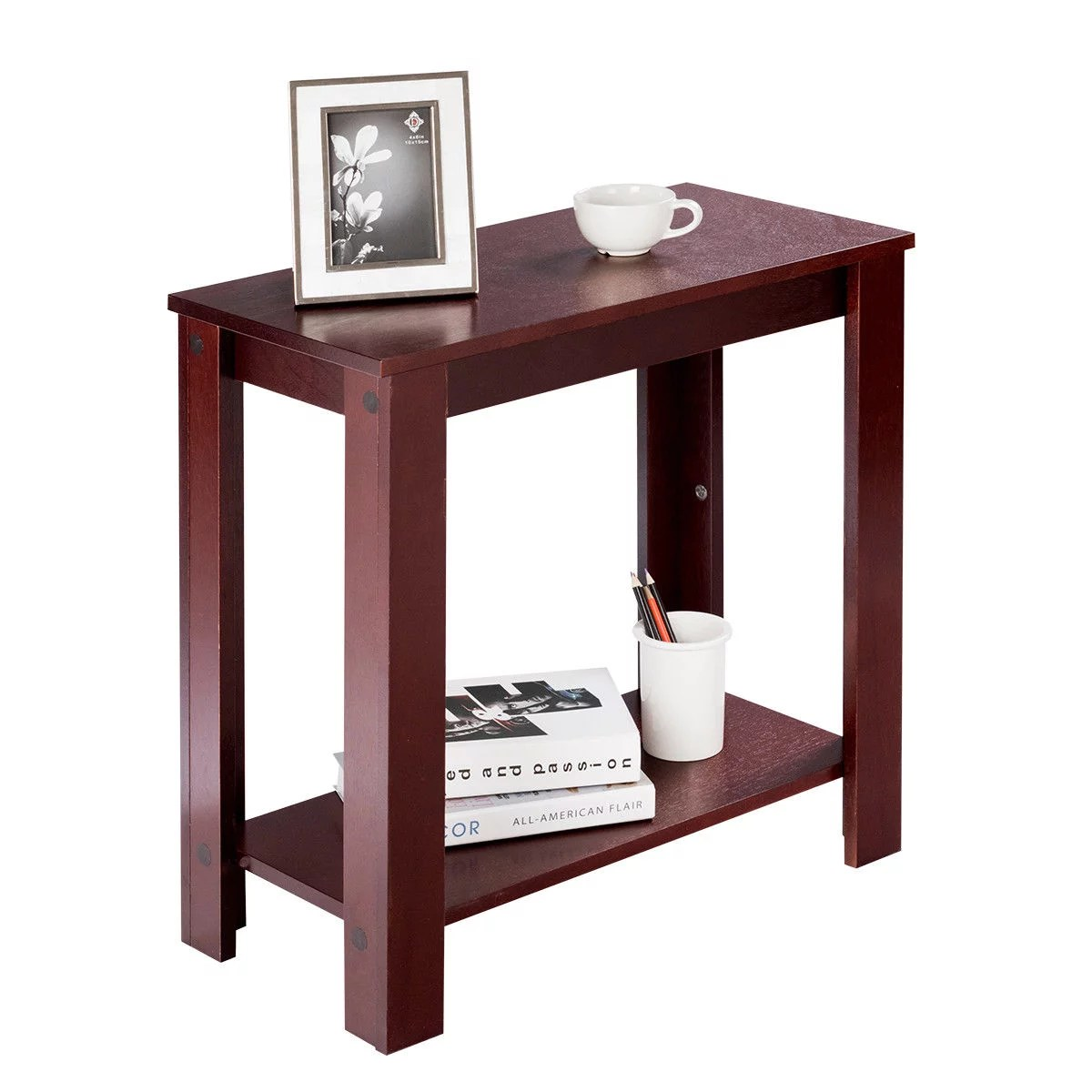 costway chair side table coffee sofa wooden end shelf living room furniture espresso