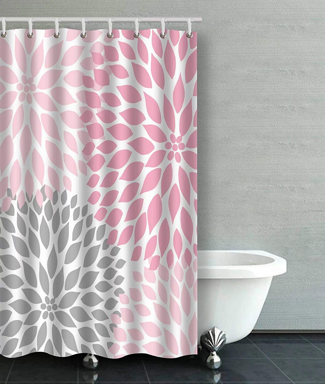 artjia pale pink gray white dahlias bathroom shower curtain 48x72 inches
