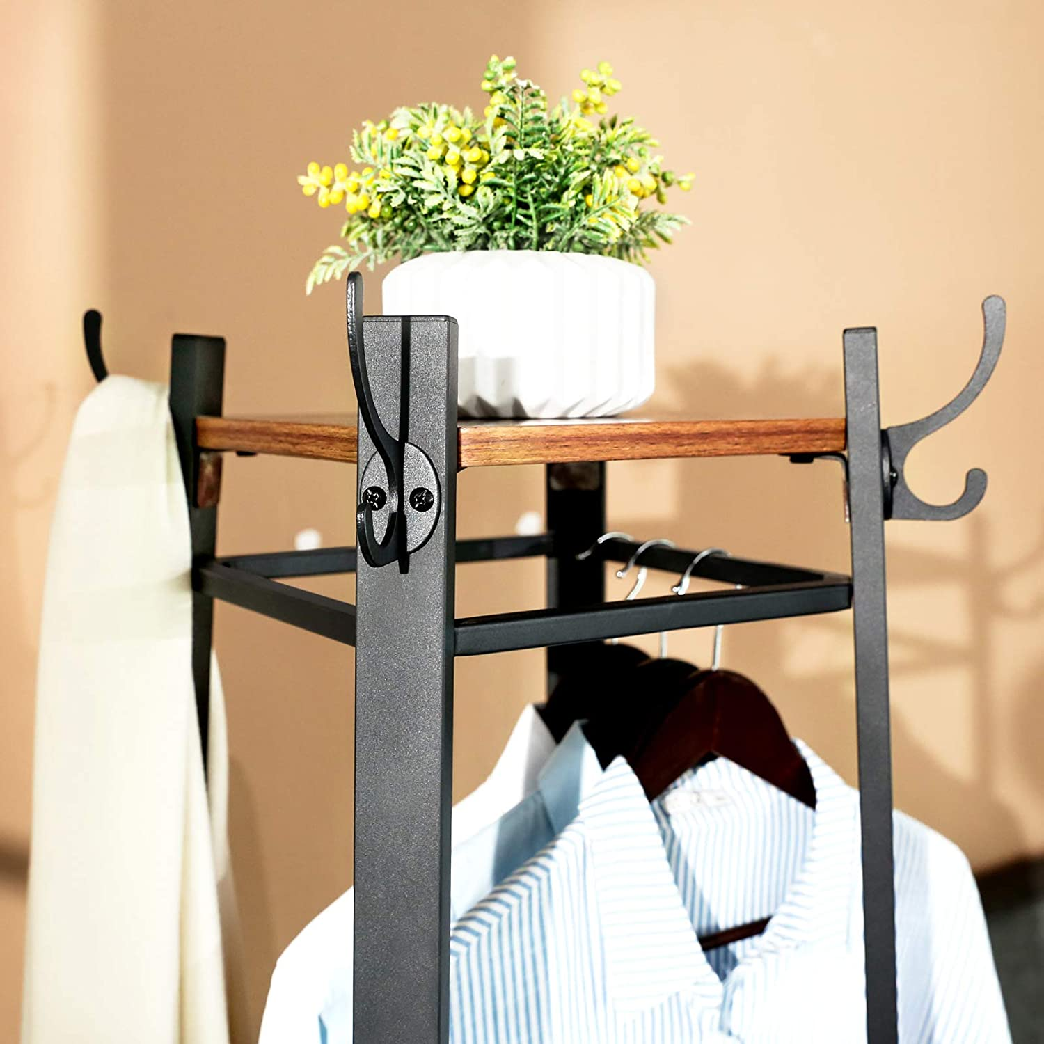 vasagle industrial coat rack coat stand with 3 shelves hall trees free standing with hooks and clothes rail metal frame ulcr80x