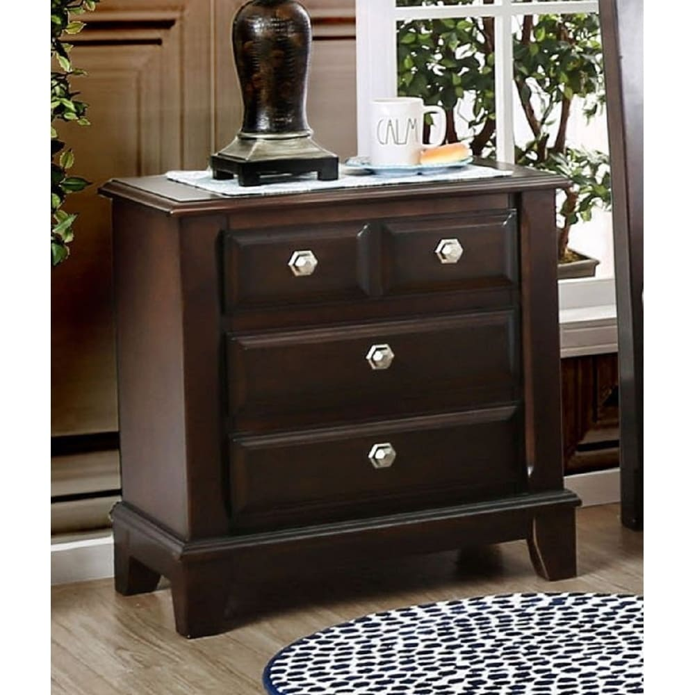 furniture of america hazelo transitional cherry solid wood nightstand