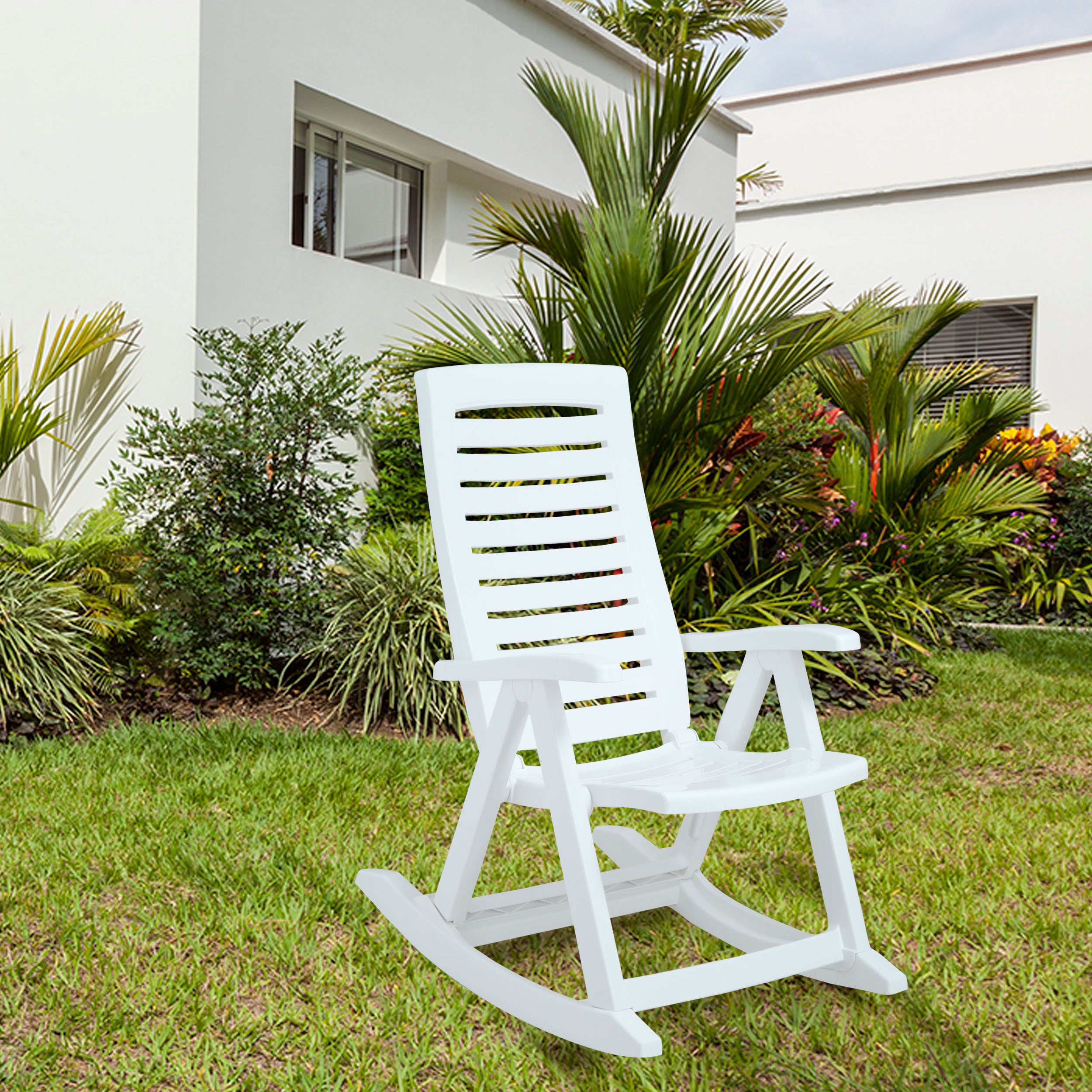 Rimax Casual White Resin Rocking Chair  Walmartcom