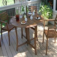 Outdoor Interiors Round Folding Table, 48-Inch, Brown ...