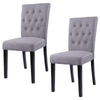 Costway Set of 2 Fabric Dining Chair Armless Chair Home ...