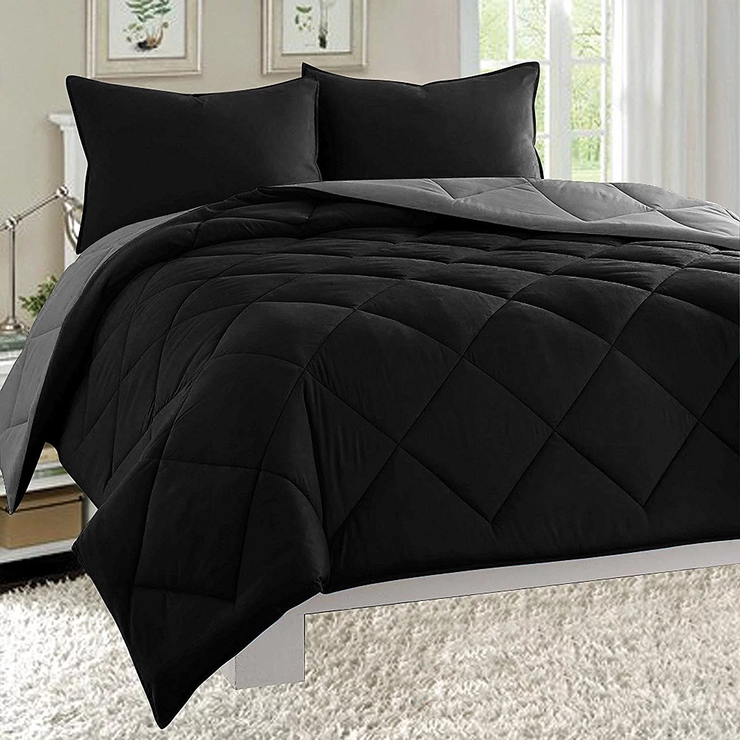 Goose Down Close Out Deal , High Quality 3pc Comforter Set-Full/Queen, Black/Gray