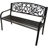 Outdoor Bench Iron Patio Bench Outdoor Furniture Welcome ...