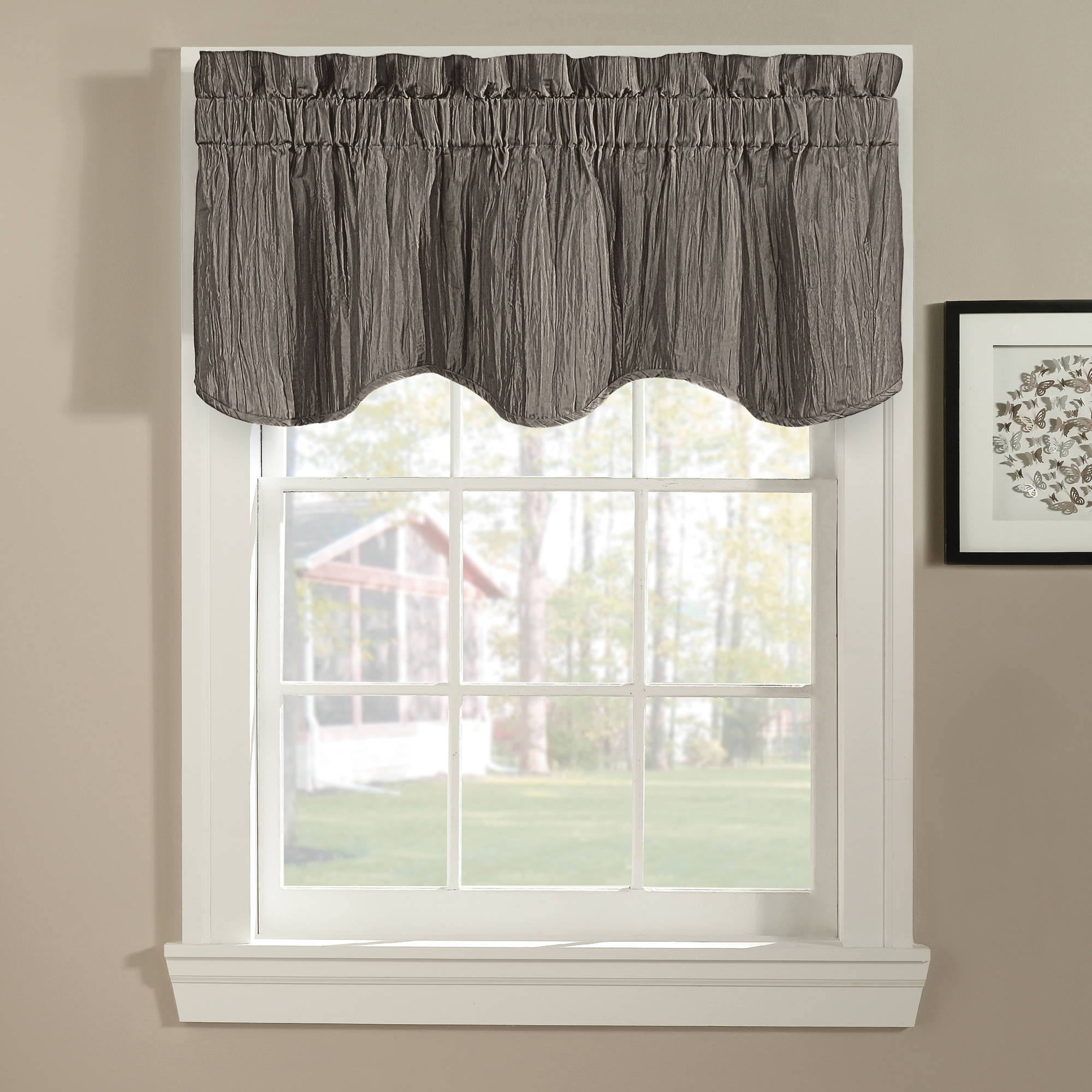 valances for kitchen windows american standard faucet repair leah window valance yellow grey walmart com