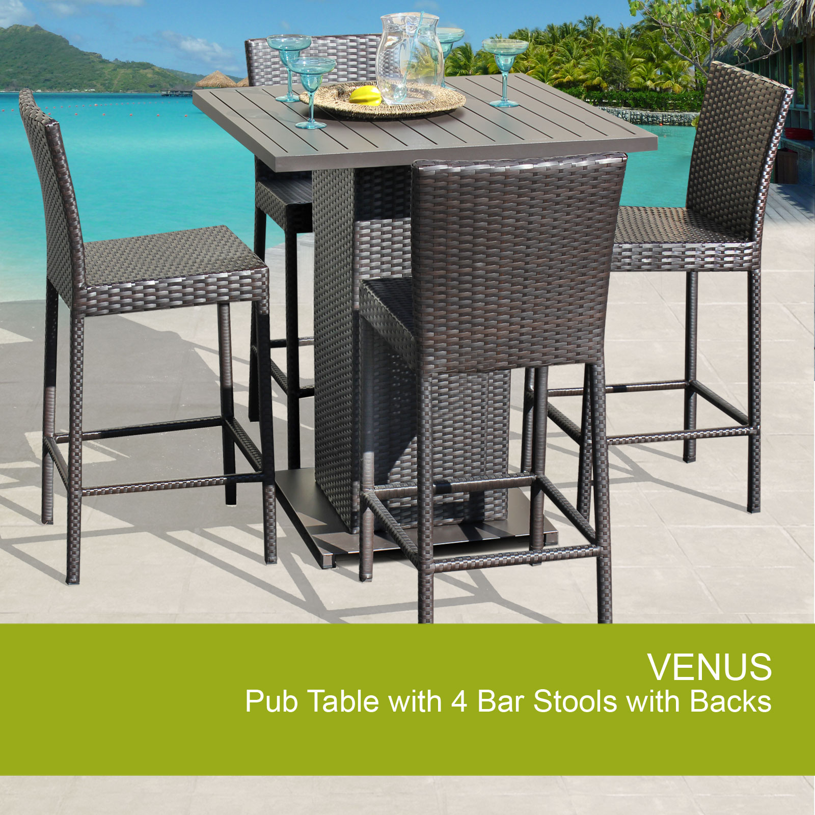 outdoor bar table and chairs bean bag chair target venus pub set with barstools 5 piece wicker patio furniture walmart com