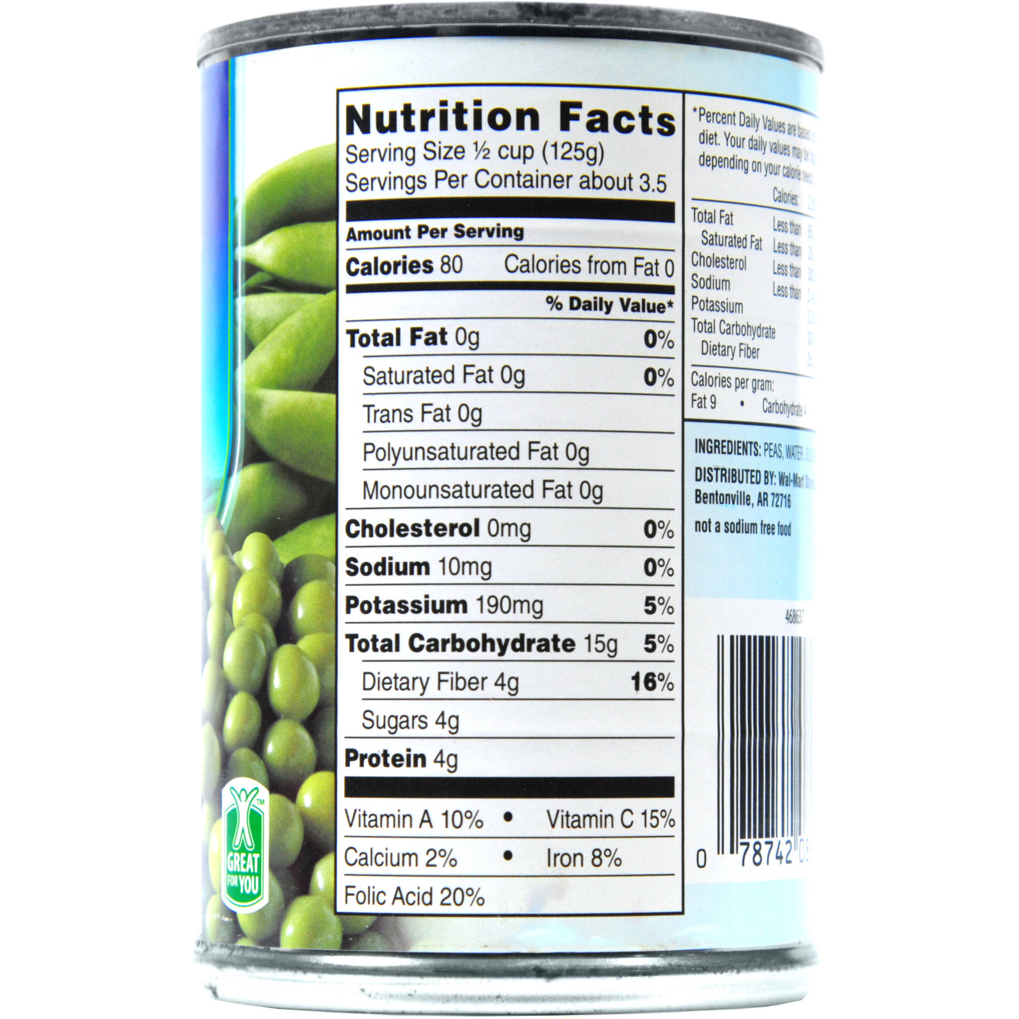Canned Green Beans Nutrition Label