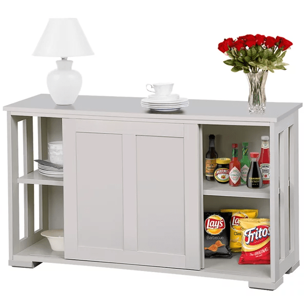 kitchen buffet metal cabinet stackable sideboard storage with sliding door dining room furniture antique white