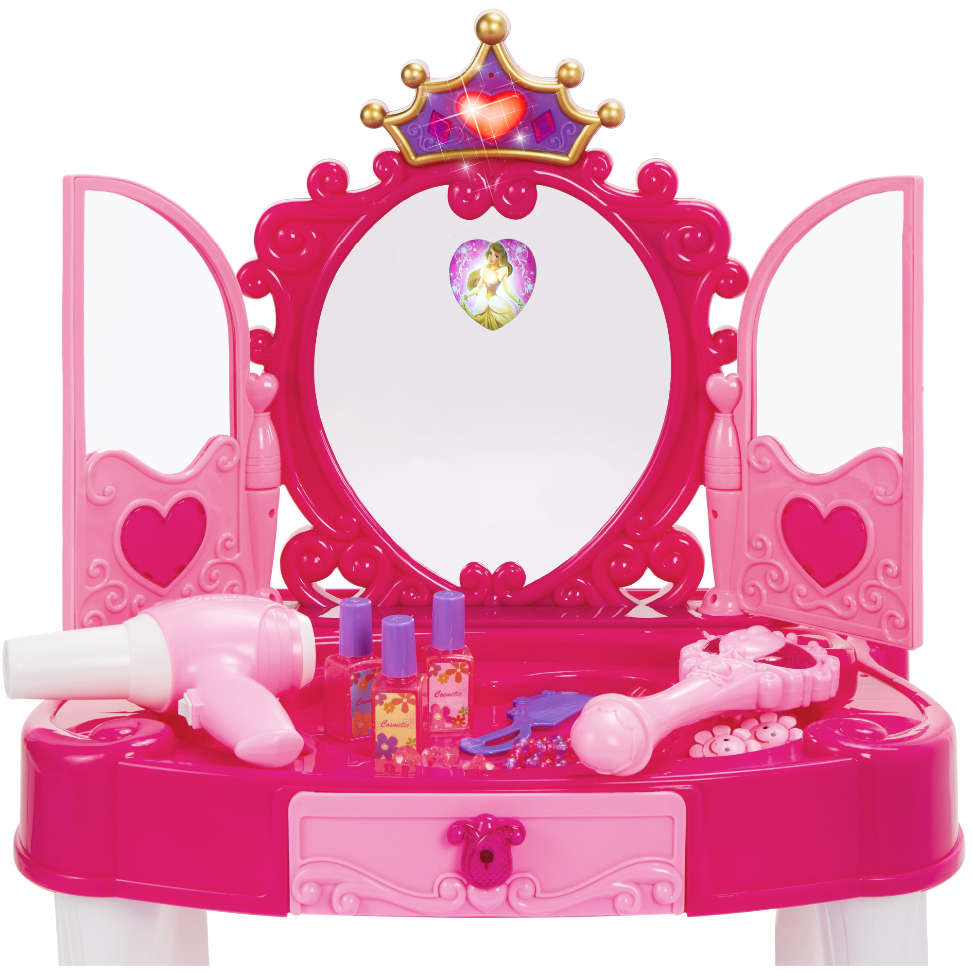 best choice products kids vanity mirror set girl pretend play toy w magic wand remote hairdryer stool accessories