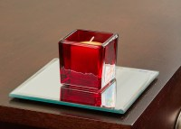 5 Inch Square Mirror Candle Plate with Bevelled Edge set ...