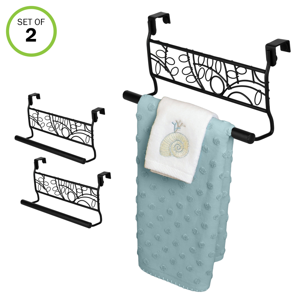 evelots over cabinet door towel bar bathroom kitchen no installation metal set 2