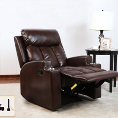 Theater Chairs With Cup Holders Tub Chair Stool Underneath Bonzy Recliner Contemporary Seating Two Holder Brown Leather For Modern Living Room Durable Framework Walmart Com