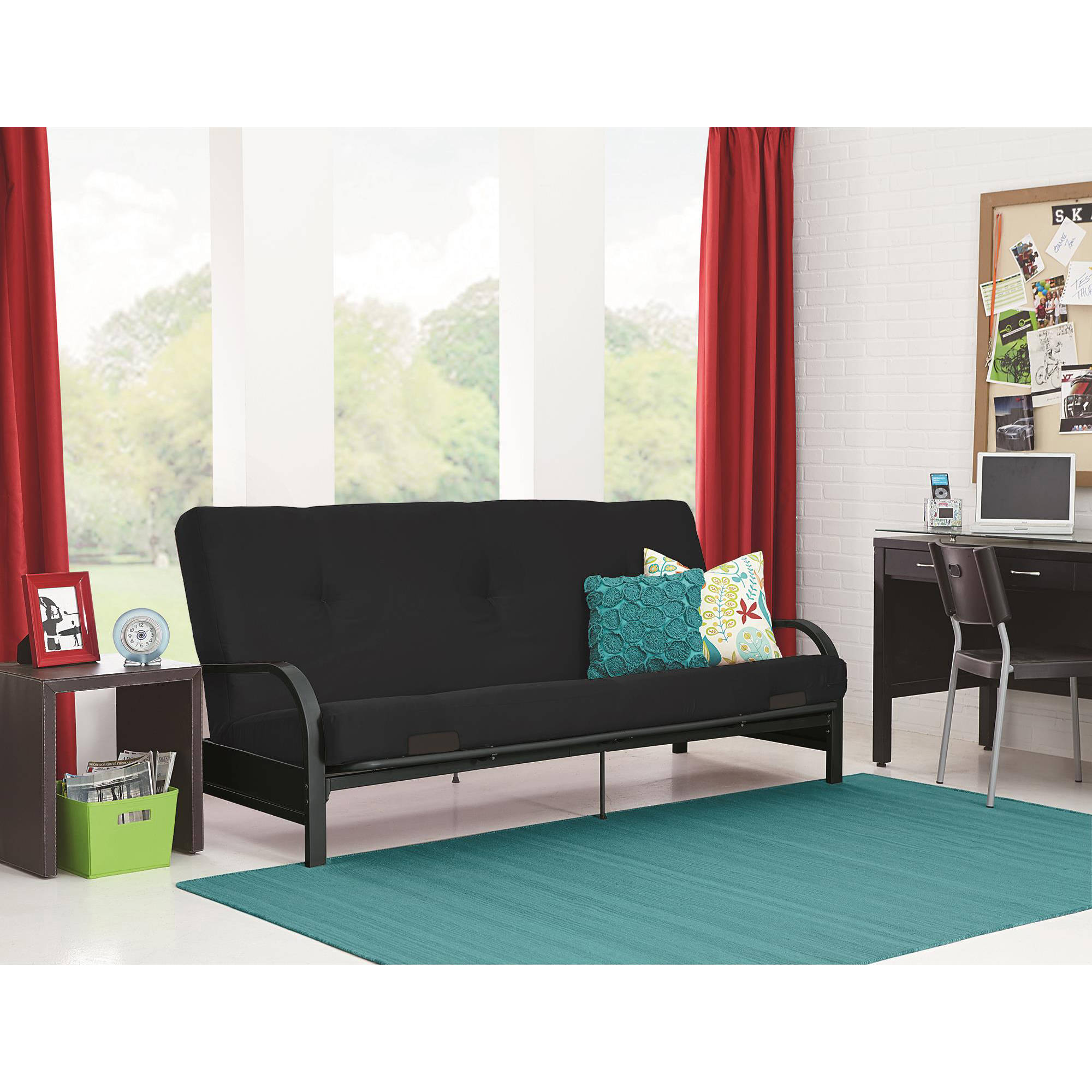 Mainstays Black Metal Arm Futon With Full Size Mattress Multiple Colors Available Walmart Com Walmart Com