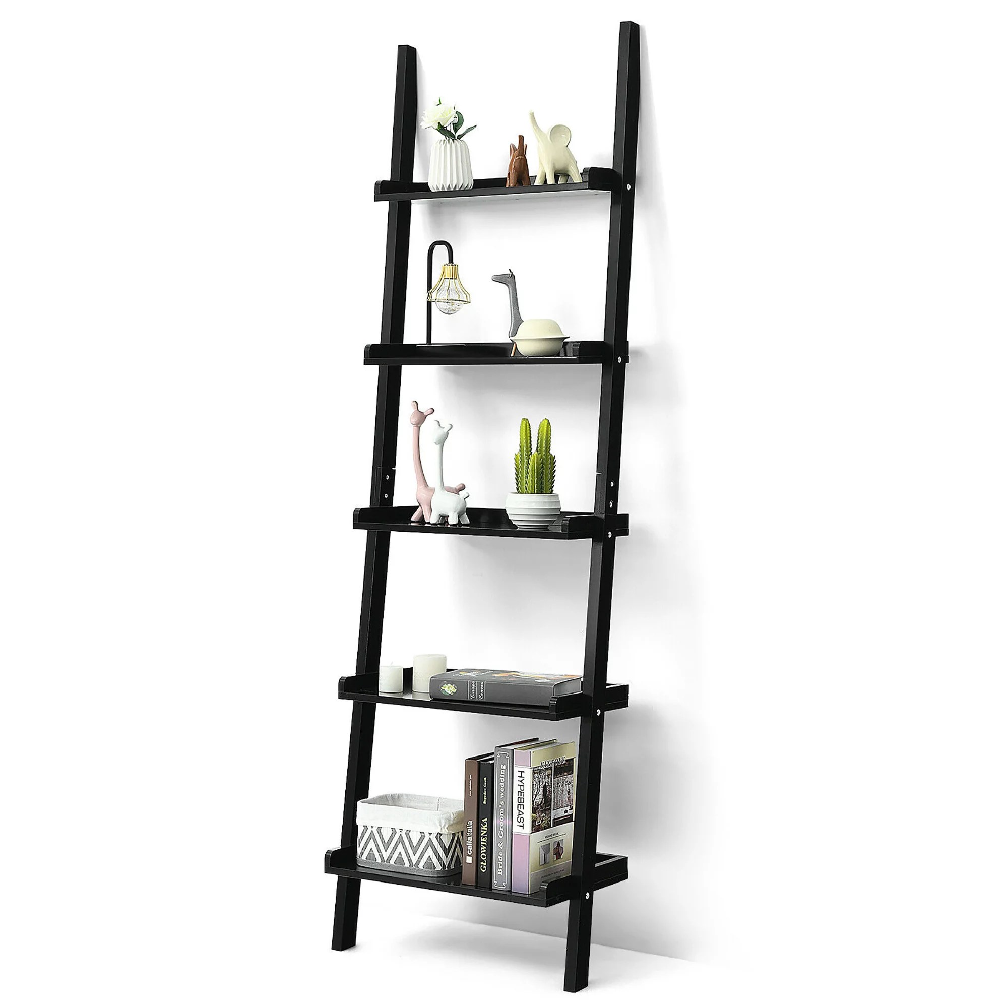 costway ladder shelf 5 tier plant stand wall leaning bookcase display rack black