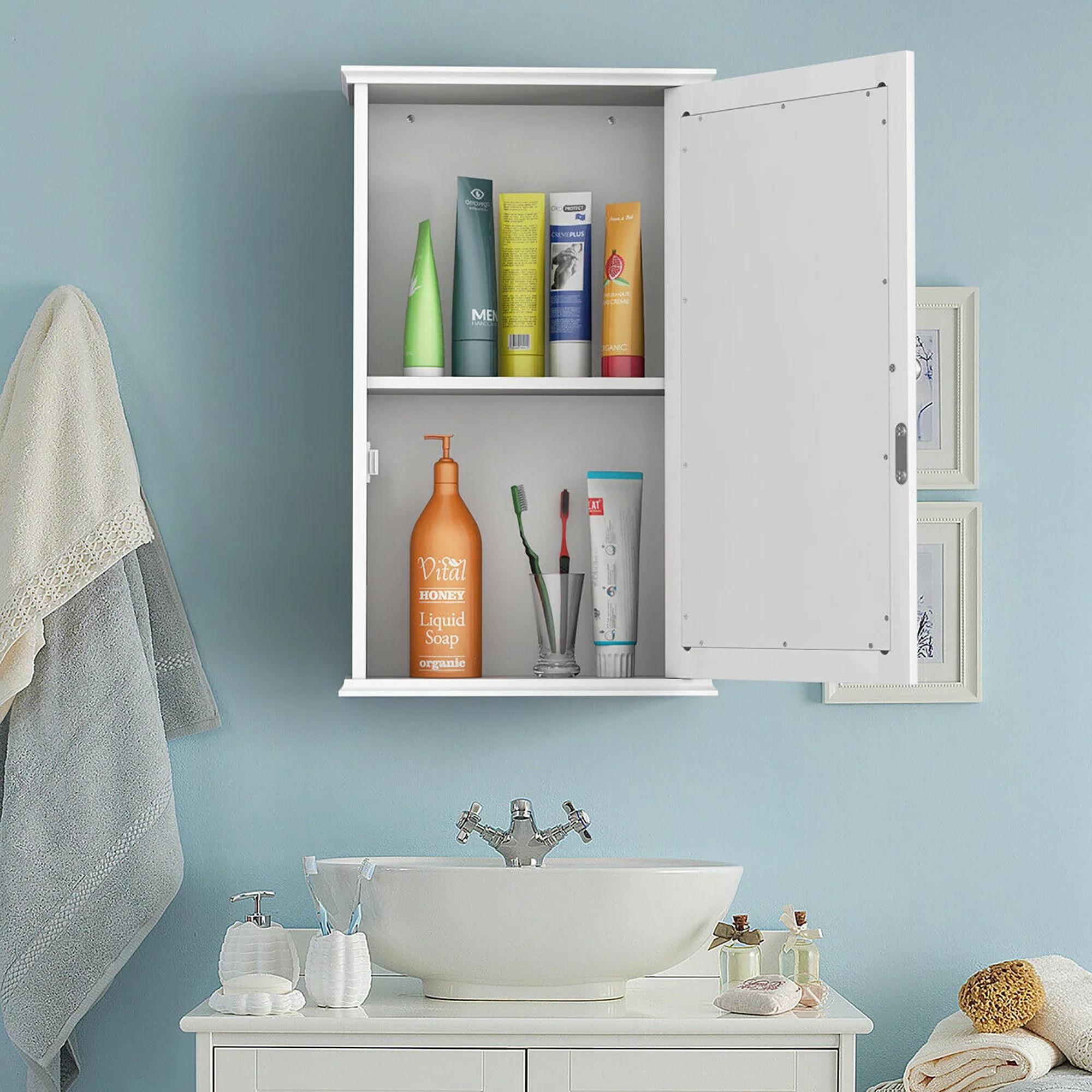 costway armoire de toilette murale meuble a miroir en bois de salle de bain avec etagere de rangement 1 porte 34 x 15 x 53 cm blanche