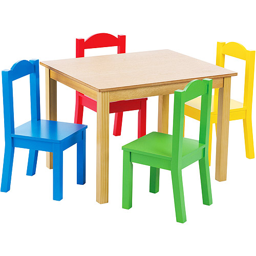 kids chair set stackable wicker chairs tot tutors wood table and 4 multiple colors walmart com