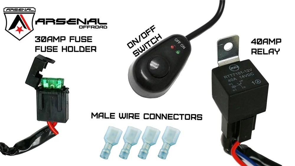 medium resolution of  1 arsenal offroad led light bar universal wiring harness 40 amp relay on off switch great for led work lights atv utv offroad trucks 4x4 suv