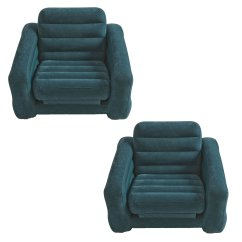 Intex Inflatable Pull Out Chair Twin Bed Crushed Velvet Tub Covers And Air Mattress Sleeper 2 Pack Walmart Com
