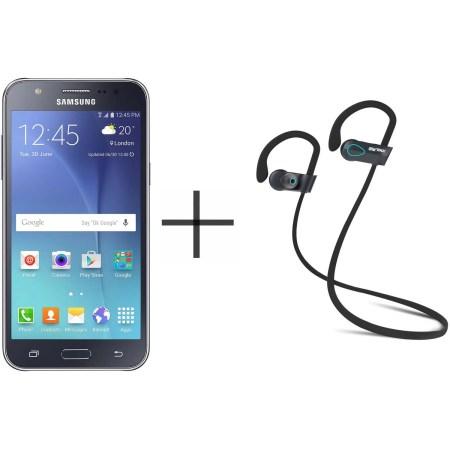 Samsung Galaxy J5 J500M Unlocked GSM Smartphone and SHARKK Flex 20 Wireless Bluetooth Waterproof Headphones with Mic, Black (Value Bundle)