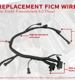 ficm engine fuel injector complete wire harness replaces part 5c3z9d930a ford powerstroke 6 0l diesel 2003 2004 2005 2006 2007 f250 f350 f450  [ 3307 x 1868 Pixel ]