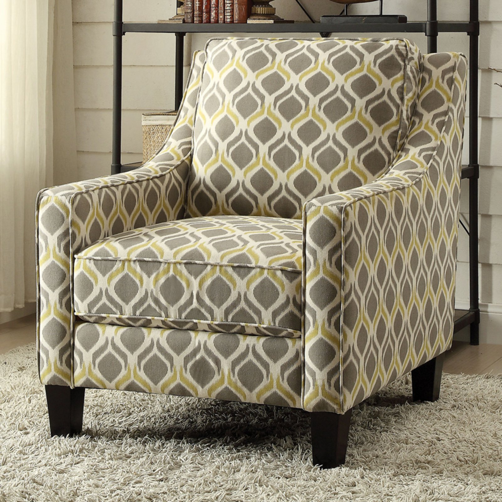 Grey And Yellow Chair Coaster Accent Chair In A Grey And Yellow Stylish Pattern