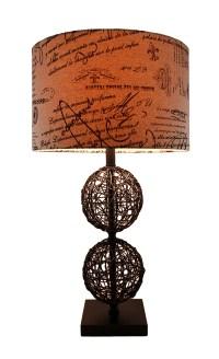 Rattan Spheres Table Lamp w/Decorative Script Print Shade ...