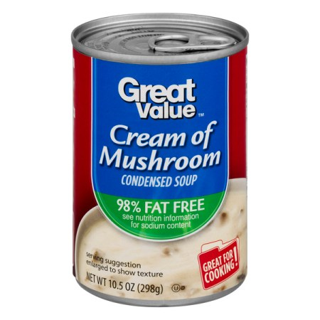 Great Value Cream of Mushroom Condensed Soup, 98% Fat Free, 10.5 oz