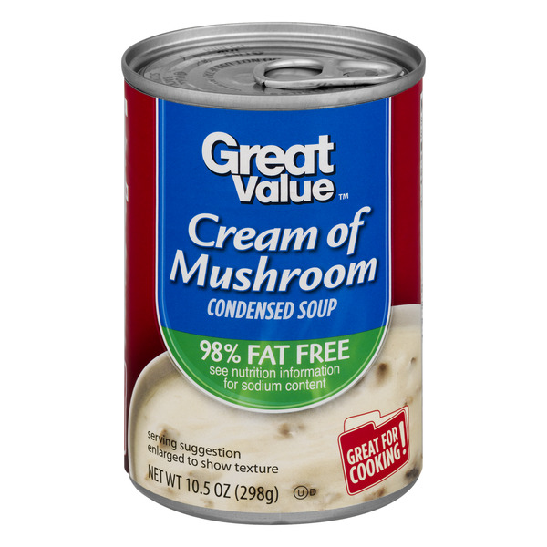 Great Value Cream of Mushroom Condensed Soup, 98% Fat Free, 10.5 oz
