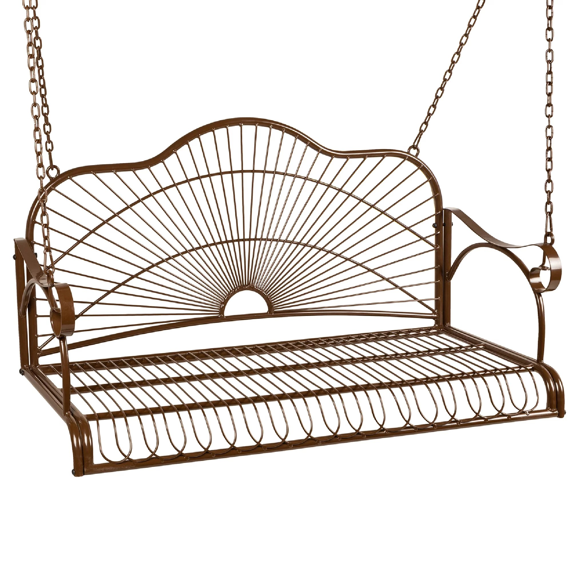 best choice products hanging iron porch swing outdoor patio furniture chair w armrests mounting chains