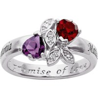 Personalized Birthstone and Diamond Accent Promise Ring in ...