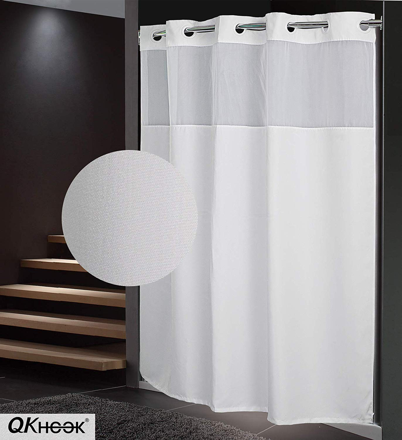 qkhook hookless shower curtain with snap in liner 1 packs 71x74 inches mildew resistant fabric plain water repellent and antibacterial