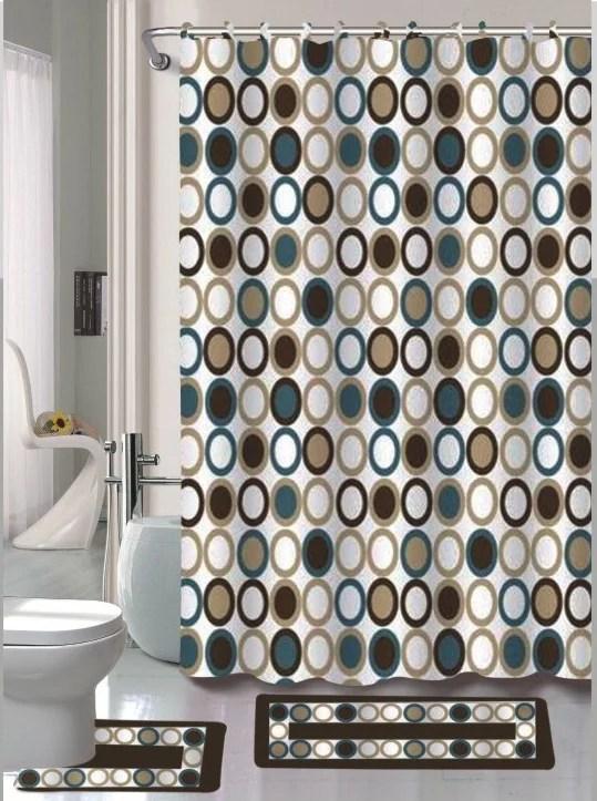 sami brown blue circle 15 piece bathroom accessory set 2 bath mats shower curtain 12 fabric covered rings