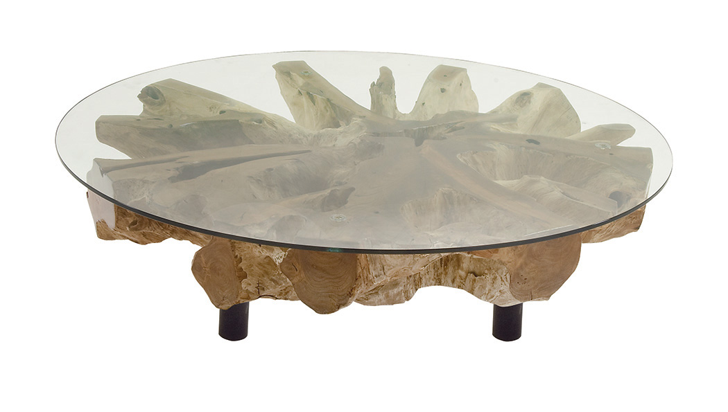 decmode natural 15 x 50 inch cross sectional teak wood and glass coffee table natural tan
