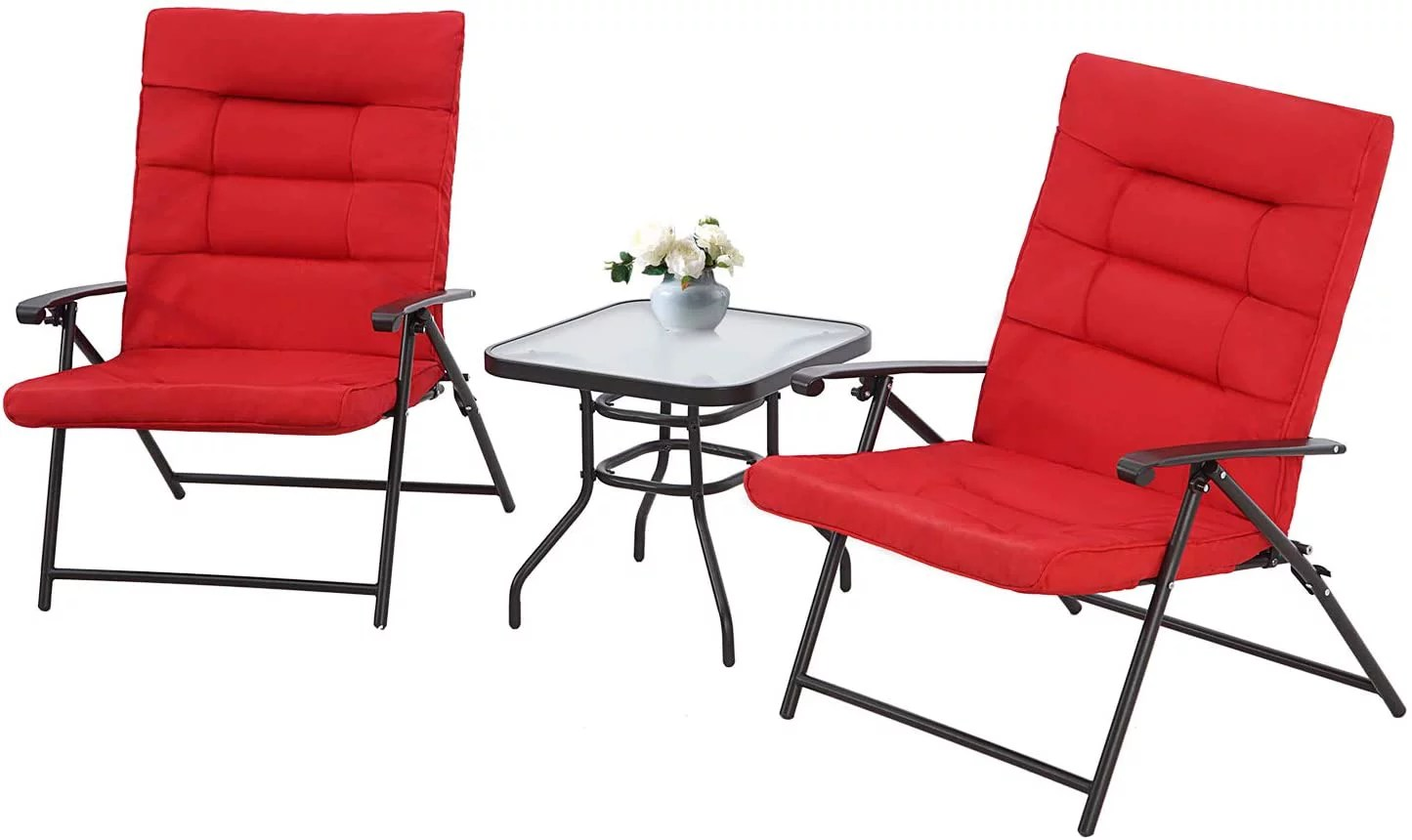suncrown patio padded folding 3 pieces chair set adjustable reclining outdoor furniture metal sling chair with coffee table red