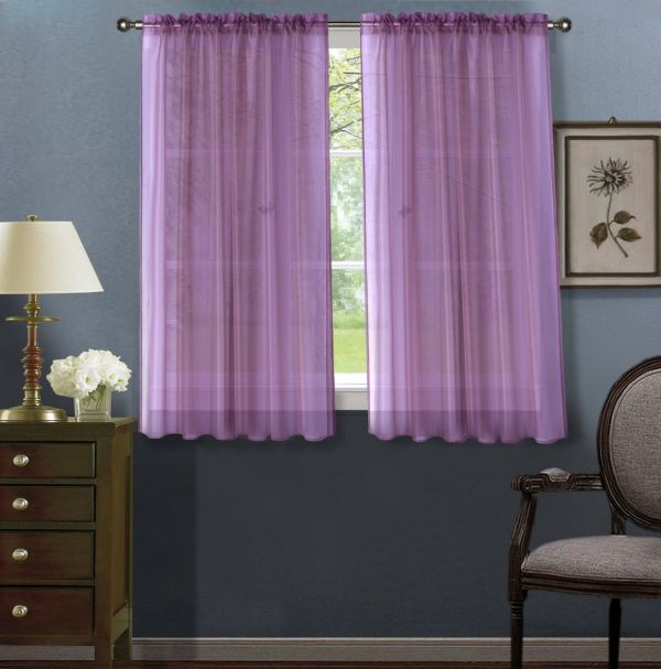 2pc Lilac Solid Sheer Voile Window Curtain Set Two 2
