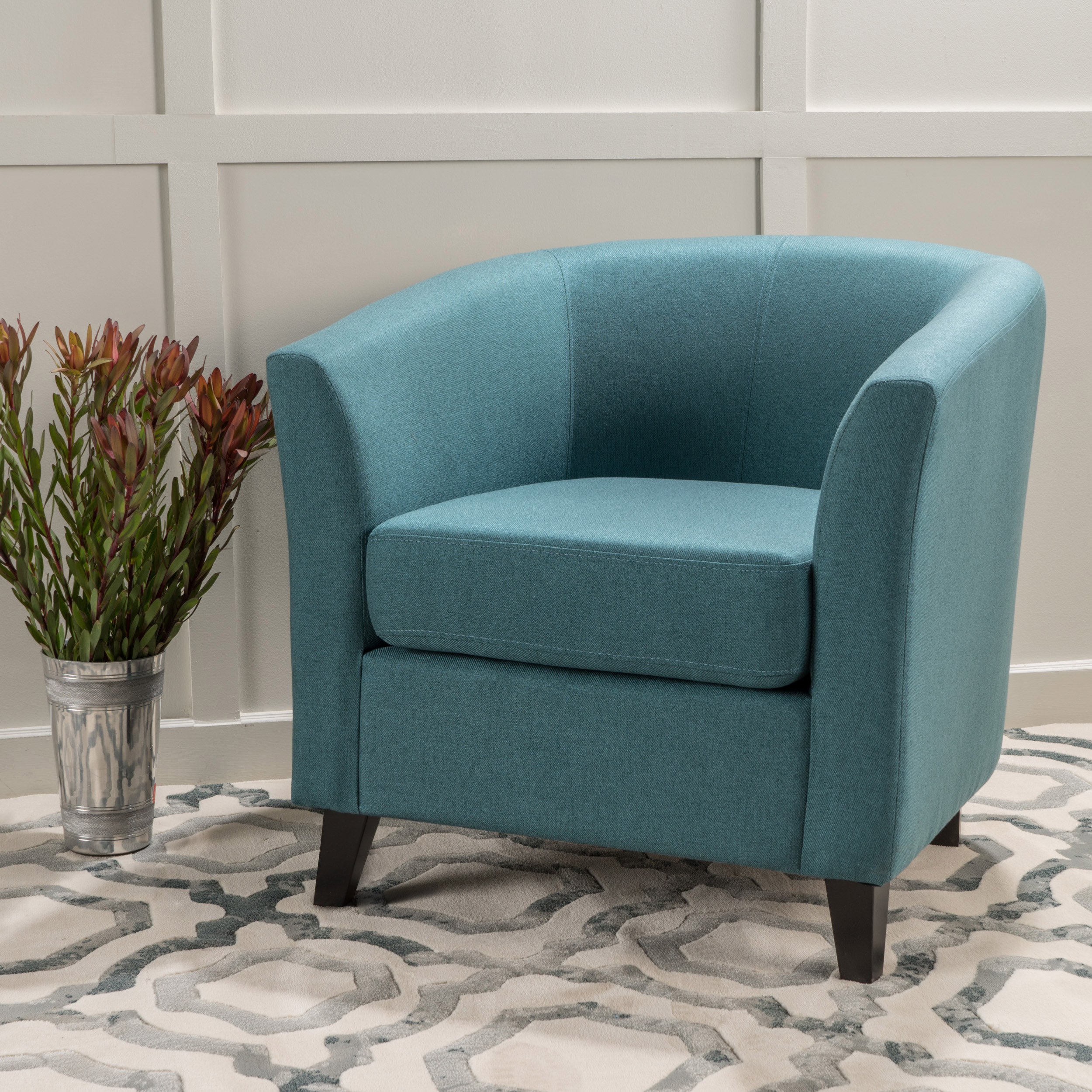 teal club chair big and tall gaming chairs walmart com product image noble house florette tub design fabric dark