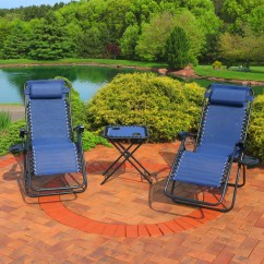 Reclining Patio Chairs And Table Memory Foam Chair Cushion For Recliner Sunnydaze Outdoor Zero Gravity Lounge Set Of 2 With Pillows Cup Holders Matching Built In