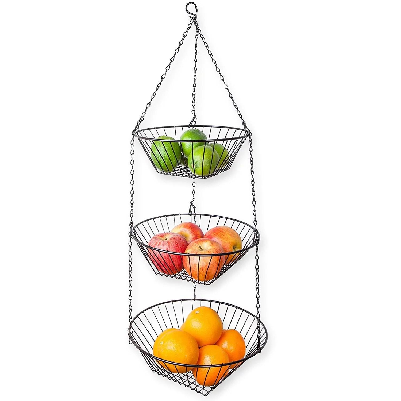 kitchen fruit basket wooden bench for table home basics 3 tier wire hanging baskets black