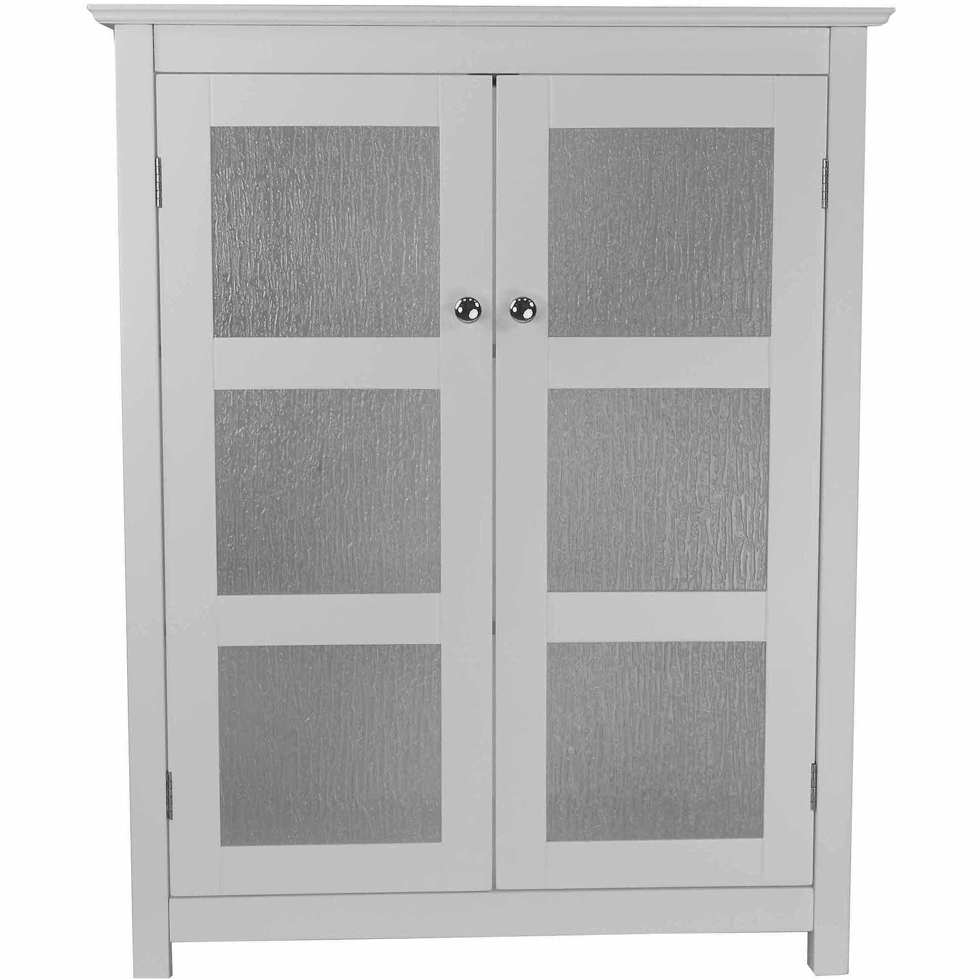 Connor Floor Cabinet with 2 Glass Doors White  Walmartcom