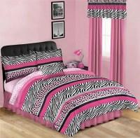 Pink & Black Leopard Zebra Teen Girls Twin Comforter Set ...