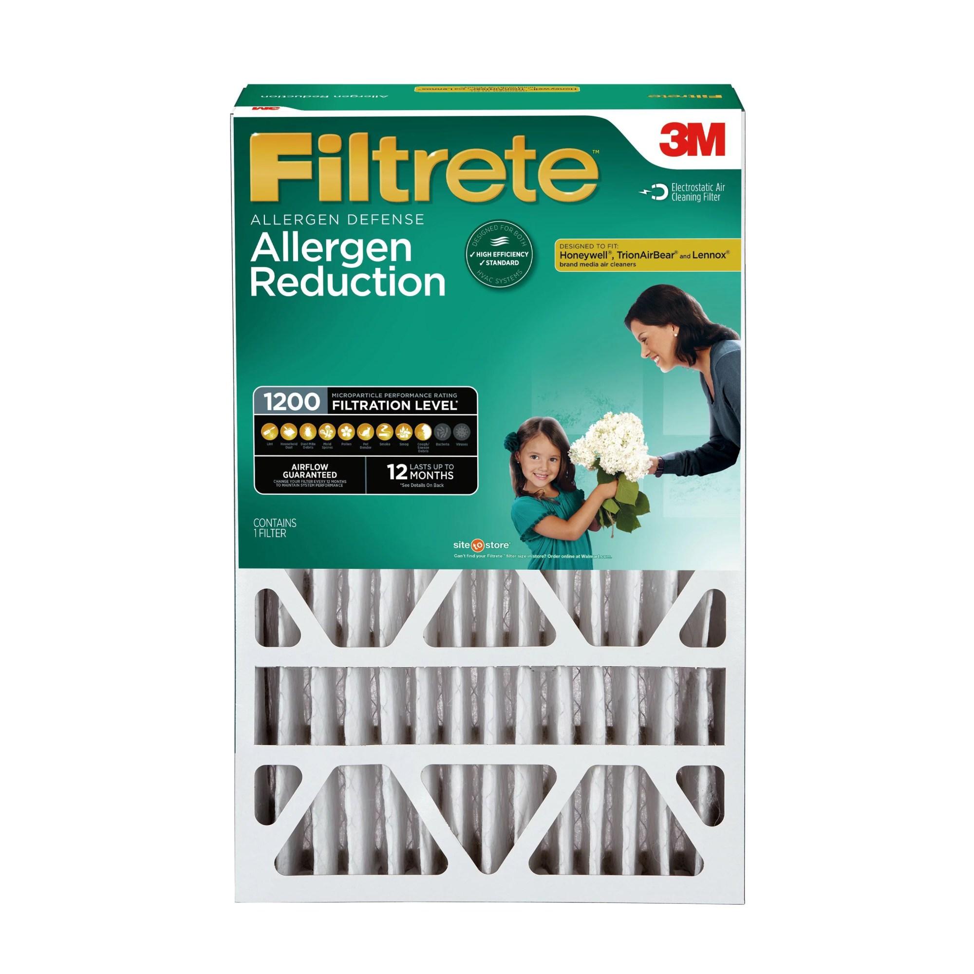 hight resolution of filtrete 16x25x4 allergen reduction deep pleat hvac air and furnace filter 1200 mpr 1 filter walmart com