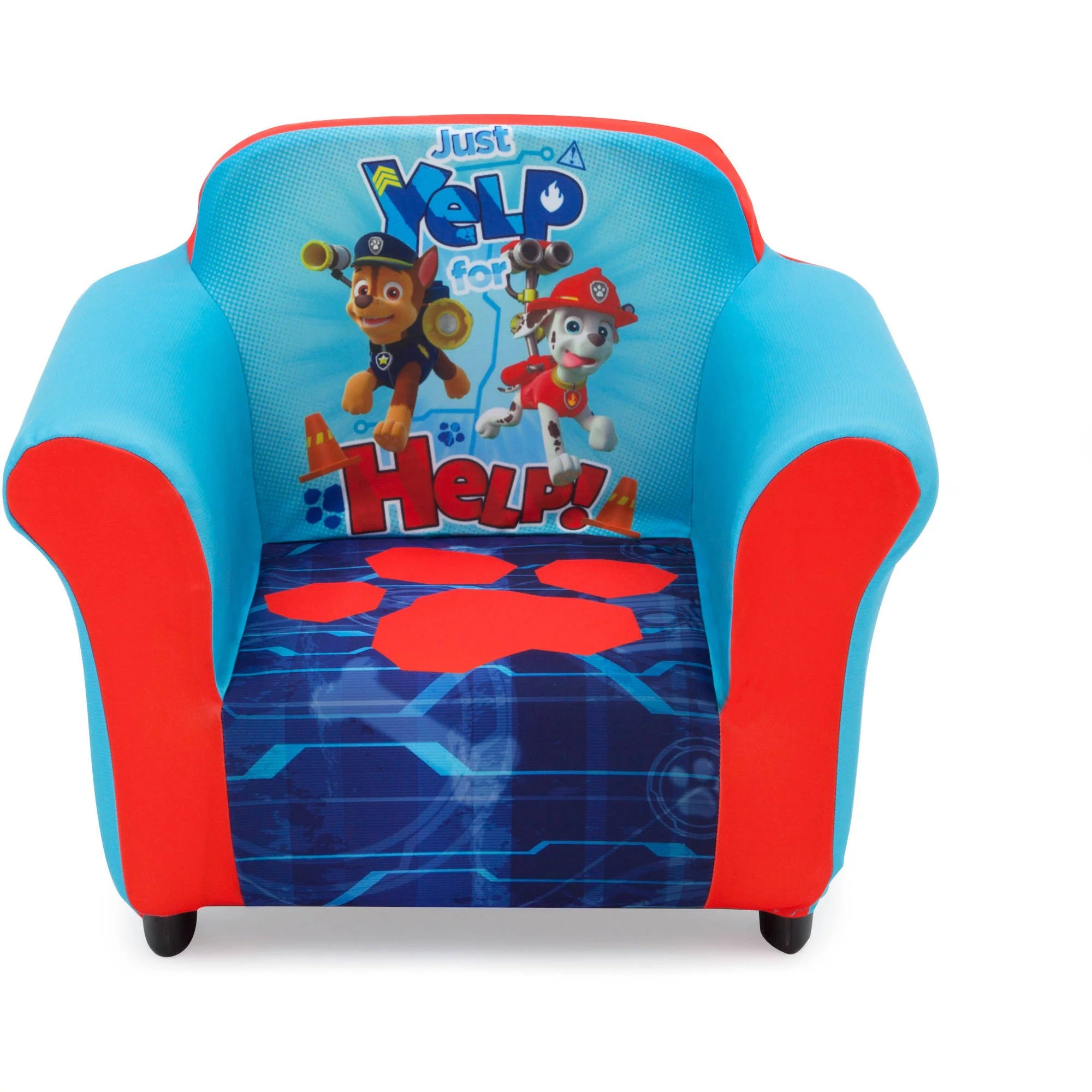 nick jr paw patrol kids upholstered chair with sculpted plastic frame by delta children
