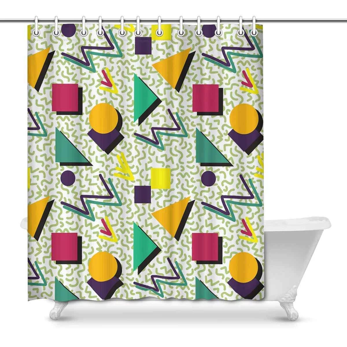 mkhert geometric pattern in retro 80s style memphis abstract modern house decor shower curtain bathroom decorative fabric bath curtain set rings 66x72