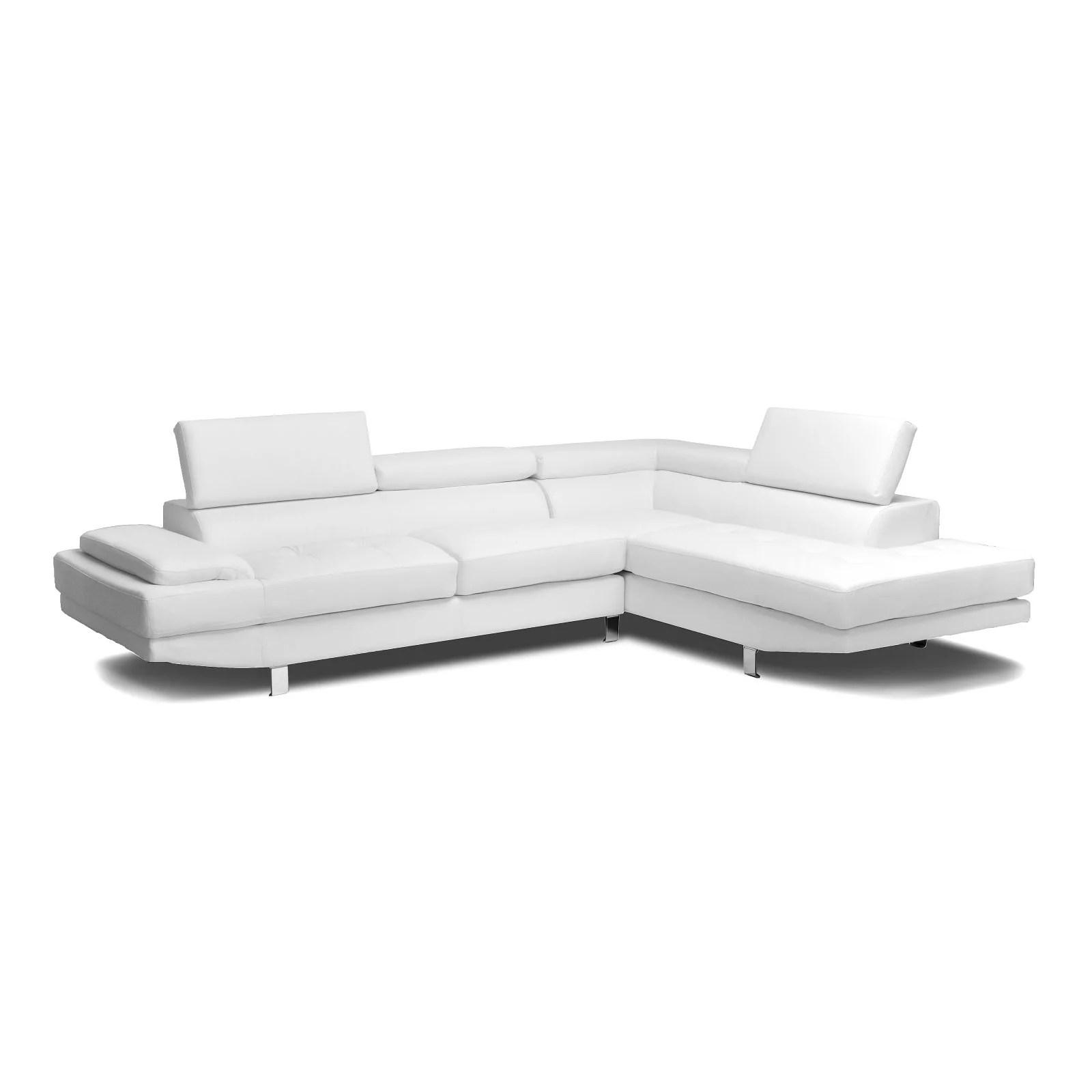 selma white leather modern sectional sofa