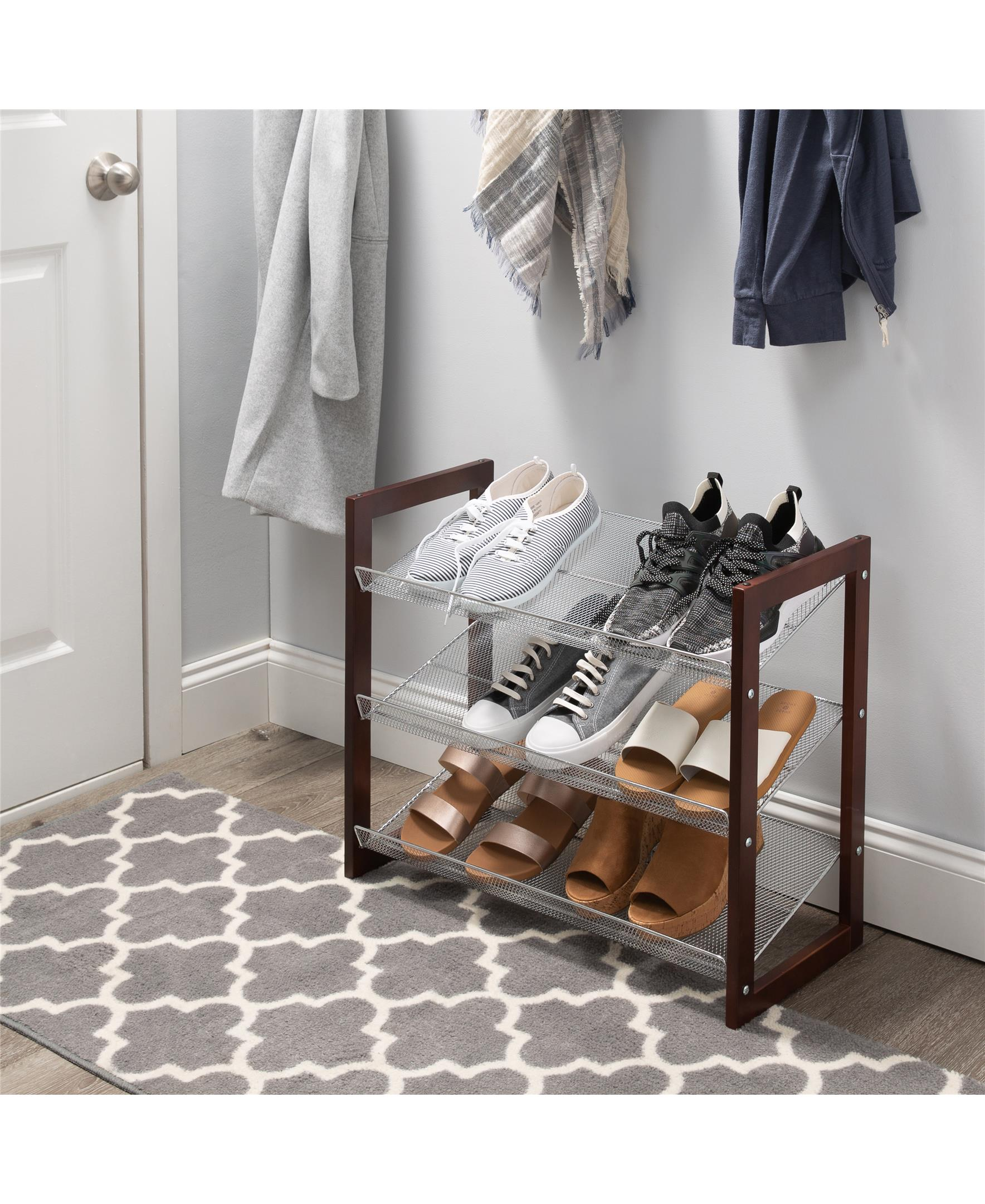 neu home 3 tier mesh shelf shoe rack in espresso