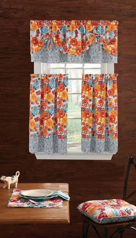 kitchen drapes farm sinks for kitchens curtains product image the pioneer woman flea market 3pc curtain and valance set