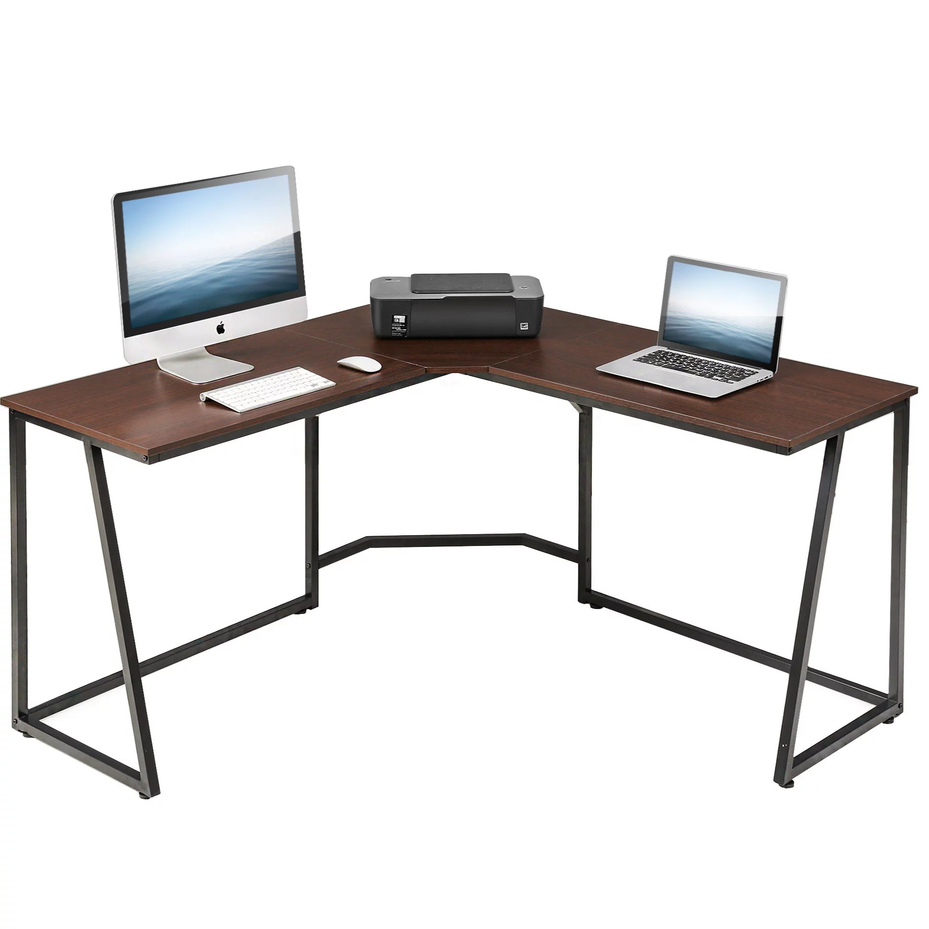 fitueyes l shaped desk corner pc laptop gaming table workstation for home office lcd114001we