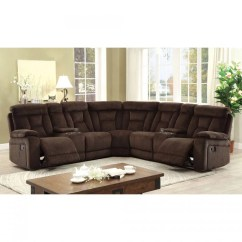 2 Seater Power Recliner Sofa Convertible Table Sectional Brown Chenille Fabric ...